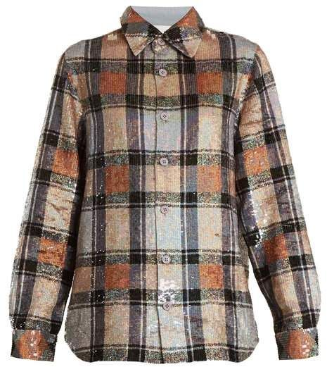Ashish Button Down Checked Sequin Embellished Shirt - Womens - Multi