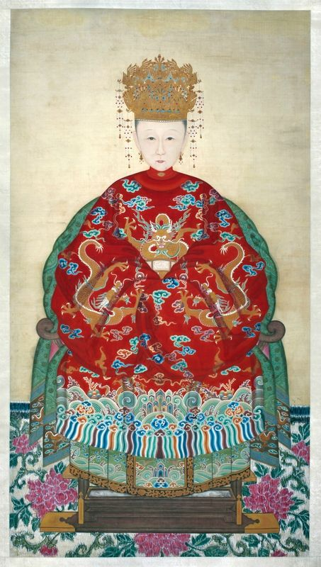 Anonymous, Memorial Portrait of Madame Li, Wife of Kong Chuanduo, 68th-generation Duke for Perpetuating the Sage, Qing dynasty (1644-1911). Hanging scroll; ink and color on silk, 176.5 × 97 cm (painting only), 313.5 × 118 cm (overall with mounting). Kong Residence Cultural Relics Archive, Cultural Relics Administrative Committee of Qufu City, Shandong Province.