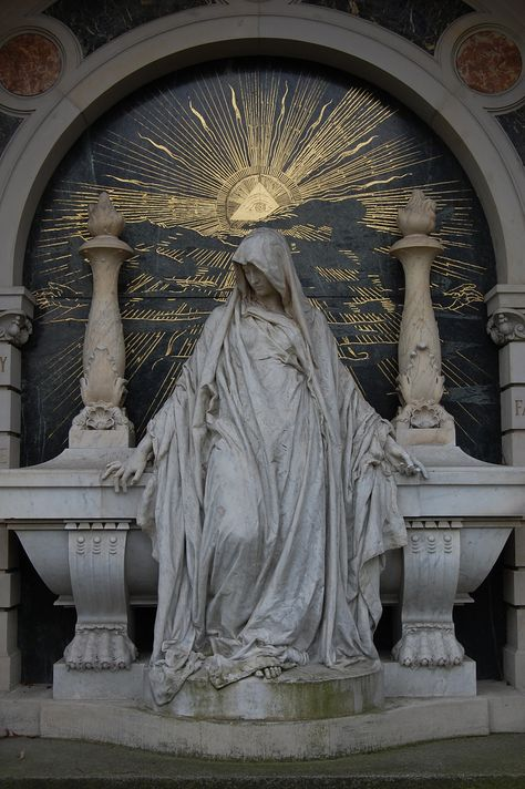 Woman sitting on grave, Illuminati sun Seen at cemetery in Berlin, Alter Sankt Matthaeus Kirchhof Cemetery Statues, Cemetery Art, Illuminati, Art Sculpture, Sculptures, Bernini Sculpture, Old Cemeteries, Graveyards, Freemasonry