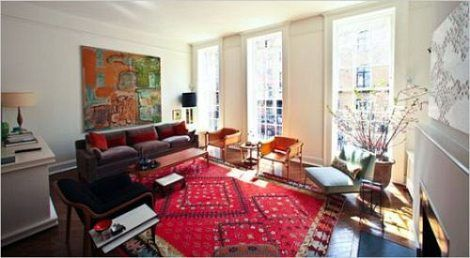 Living Room Red Rug oriental rug with modern furnishings and white walls - love it