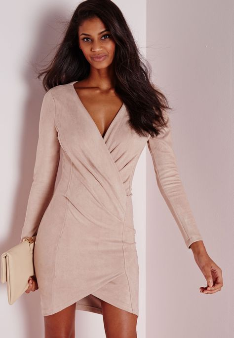 Missguided Peace + Love Nude Criss Cross Faux Suede