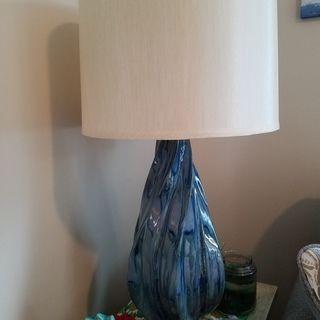 Teresa Teal Drip Modern Ceramic Table Lamp 1f455 Lamps Plus