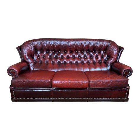 Vintage Mid Century Oxblood English Leather Chesterfield Batwing Lounge Sofa Leather Chesterfield Vintage Sofa Lounge Sofa