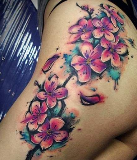 58 Ideas Tattoo Hip Watercolor Cherry Blossoms Tattoo Beautiful
