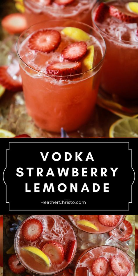 Everyone's favorite Summer cocktail and it's so easy! Vodka Strawberry Lemonade, Lemonade Cocktail, Cocktail Drinks, Strawberry Cocktails, Liquor Drinks, Good Bar Drinks, Good Vodka Drinks, Vodka Summer Drinks, Cocktail