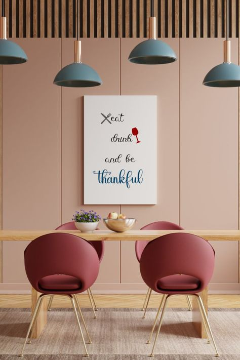 Eat Drink And Be Thankful Printable, Dining Room Wall Art, Farmhouse Style, Definition Printable