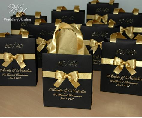 100 Chic Birthday Gift Bags - Black & Gold Paper Bag with satin ribbon, bow and foil names - Anniver
