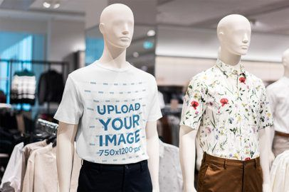 Placeit Mockup Of A Store Mannequin Wearing A T Shirt Clothing Mockup Clothing Logo Store Mannequins