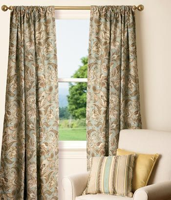 Paisley Jacobean Lined Rod Pocket Curtains Gorgeous Fabric
