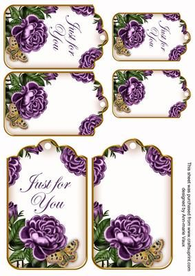 Purple Rose Just for You Sentiment Ink Saver Tag Sheet on Craftsuprint designed by Ann-marie Vaux - I have designed this sheet with sentiment tags, there are 6 all together on the sheet, 3 with sentiments and 3 without. Use them for adding a topper to your project or try mix and matching them with my backing papers.I have used a popular sentiment on the tag and you could add lace, glaze or glitter etc to bring it to life.This sheet has the tags with the white background, this will save alitt...