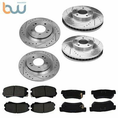 For 2009-2010 BMW 750i 750Li Rear Black Drill Slot Brake Rotors+Ceramic Pads