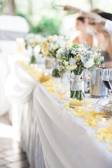 #redwoodsweddings #florals #flowers #beautiful #weddingflorals #weddingflowers #wedding #headtable #decor #weddingdecor #yellow #bouquet #wedding {06.06.2015} Photo: Meghan Hemstra Photography