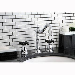 Victorian Chrome Black Widespread Bathroom Faucet Cross Handle Kingston Brass Bathroom Faucets Widespread Bathroom Faucet Lavatory Faucet