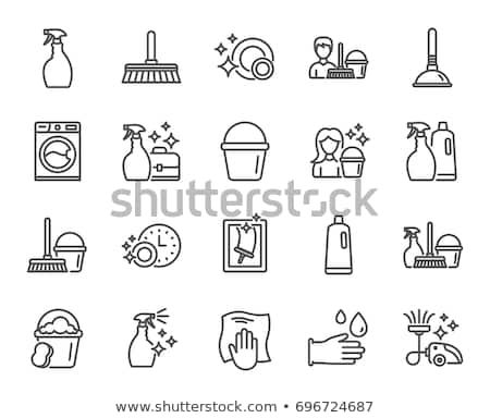 Cleaning Line Icons Laundry Sponge And Vacuum Cleaner Signs