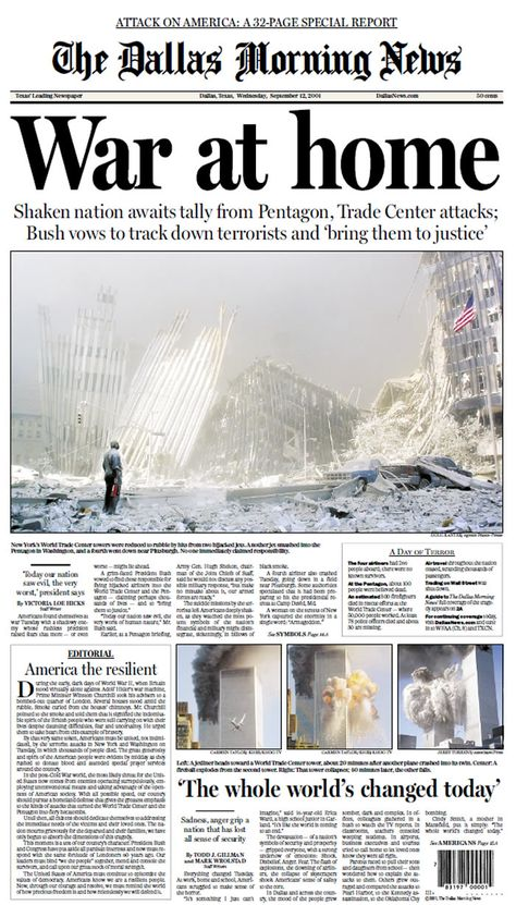 September 11: Newspaper front pages from the following day