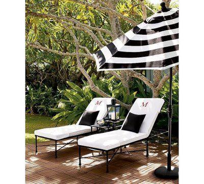 black and white striped patio umbrellas
