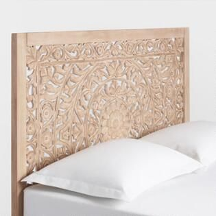 Natural Carved Zaria Collection Carved Headboard Wood Carved