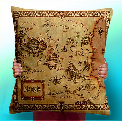 I want this pillow! Narnia Map The Lion the witch and the wardrobe - Cushion / Pillow Cover / Panel / Fabric