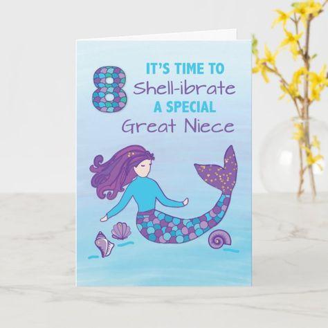 Great Niece 8th Birthday Sparkly Look Mermaid Card