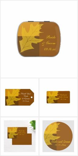 Celebrate your September, October or November marriage or bridal shower with these natural Fall Leaf Color Block Wedding Reception Products. Personalize party favors, favor tags, banners, disposable paper coasters and napkins, table number, menus and place cards. Each custom party supply features a yellow gold oak leaf design with a brown tone color block background. #weddingfavors #fallwedding #fallweddingfavors #fallleaveswedding #favortags