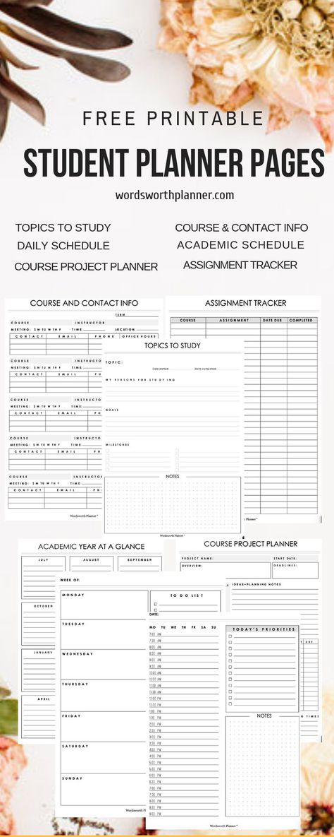 Free Student Planner Pages are great printables insert for student planners. Dow… Free Student Planner Pages are great printables insert. Student Calendar, Student Planner Printable, Academic Planner, School Planner, Study Planner, Project Planner, Student Planner College, Daily Calendar, Printable Calendars