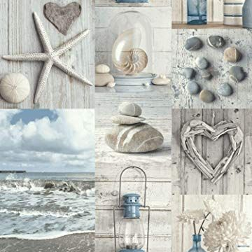 Driftwood Wallpaper Nautical Blue 670508 Amazon Co Uk Diy
