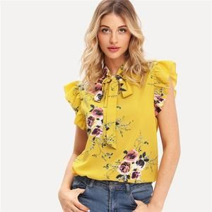 Flounce Shoulder Tied Neck Floral Solid Ruffle Blouse Summer Women Chiffon Tops and Blouses