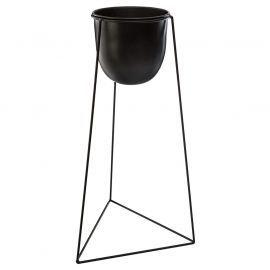 Cache Pot Sur Pied En Metal Noir H 60cm Cache Pot Mobilier De Jardin Design Metal Noir