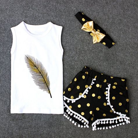 3Pcs//Set Toddler Kid Baby Girl Clothes Summer Outfits Feather Sleeveless Tank Top+Polka Dots Tassels Shorts with Headband
