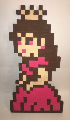 Princess Peach Pixel Art 8 Bit Nintendo Super Mario Handmade