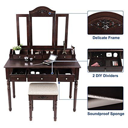 7 Drawers Tri-Folding Necklace Hooked Mirror for Women Girls Dark Espresso URDT06Z VASAGLE Vanity Set 6 Organizers Makeup Dressing Table with Cushioned Stool Easy Assembly