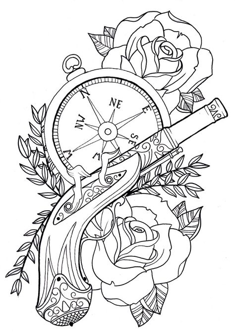rose and gun tattoos on back   Pistol Tattoo Outline Shot gun tattoo on sleeve