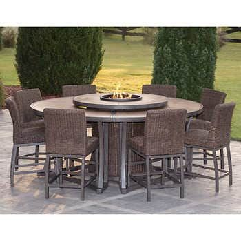 Agio Brentwood 11 Piece High Dining Set With Firetable In 2020