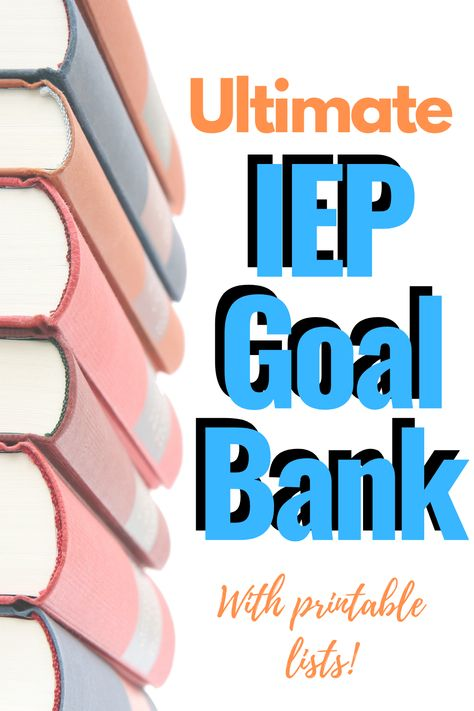 The Ultimate IEP Goal Bank! A list of IEP Goals and IEP Objectives separated by category or area of need; incl PDFs of IEP goals and how to write IEP goals. School Ot, School Social Work, Speech Language Therapy, Speech And Language, Speech Therapy, Language Arts, Life Savers, Teaching Special Education, Art Education