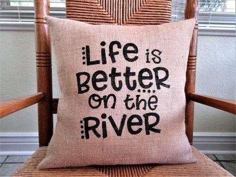 """pillow cover or custom color Custom burlap /""""Lake Life/"""" camping//cabin BROWN"""
