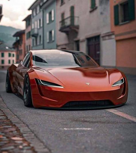 Tesla Roadster photos, news, articles - Next-Gen Tesla Roadster in orange! Luxury Sports Cars, Best Luxury Cars, Sport Cars, Luxury Suv, Maserati, Ferrari, Lamborghini Aventador, Fancy Cars, Cool Cars