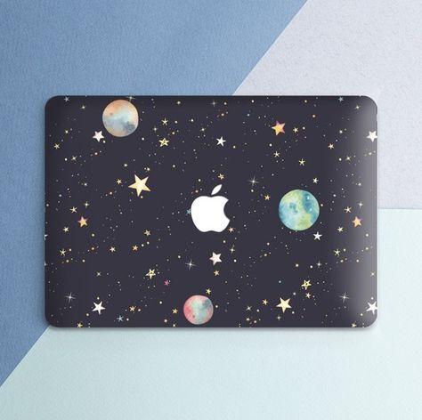 Stars Macbook case Cute Watercolor Space Macbook Pro 13 inch Pro 15 inch 2018 Stars Planets Black Macbook Air 13 Macbook 12 inch Hard case