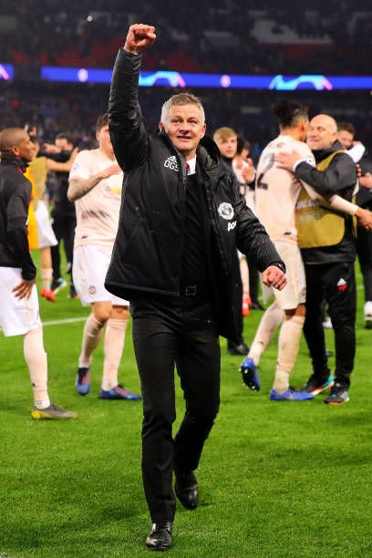 Manchester United Manager Ole Gunnar Solksjaer Celebrates At In 2020 Manchester United Paris Saint Germain Uefa Champions League