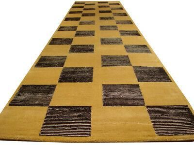 12 Foot Gold Grid Runner 3 X 11 9 Nepalese Checked Modern Black Stripes Rug Striped Rug Area Rug Sets Vintage Oriental Rugs