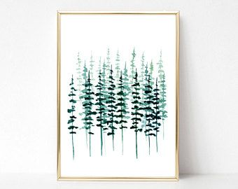 Pine Tree Print Evergreen Trees Watercolor Painting Pine Tree Forest Misty Forest Scandinavian Print Scandinavia Pine Tree Art Forest Painting Scandinavian Art