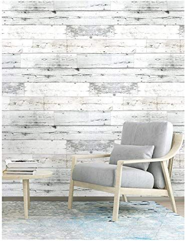 Haokhome 5030 Shiplap Peel And Stick Wood Wallpaper Off White 17 7 X 19 7ft Distressed Woo Distressed Wood Wall Decor Wood Plank Wallpaper Distressed Wood Wall
