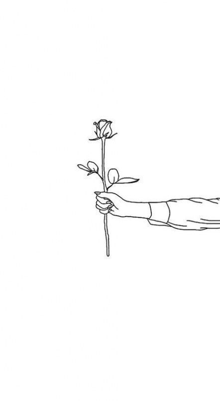 Holding A Rose Drawing Line Art Drawings Background Drawing Flowers Black Background
