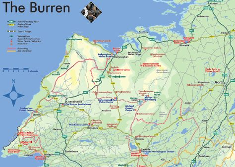 Map Of The Burren Ireland.Map Of The Burren Clare Ireland County Clare Ireland