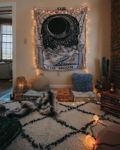 Our Tarot Moon Tapestry Bohemian Bedroom Decor Moon Tapestry Tarot Moon Tapestry, Tapestry Bedroom, Tapestry On Ceiling, Chill Room, Cozy Room, Warm Cozy Bedroom, Witch Room, Hippy Room, Aesthetic Room Decor