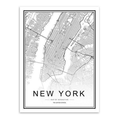 Black/White Custom World Map - 13x18 cm No Frame / NEW YORK