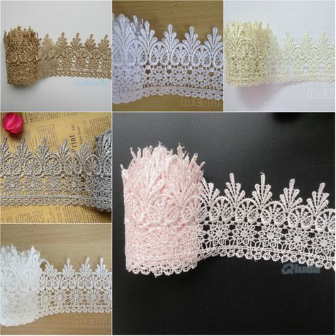 1 metre of 30mm ivory cream lacy flower detail trim wedding dress trim UK seller
