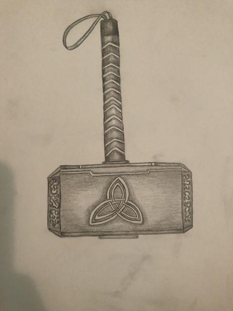 Thor S Hammer Design Printable Coloring Page Thor Hammer Tattoo Thors Hammer Mjolnir Pendant