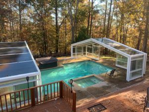 Residential Pool Enclosure System Manufactured By Roll A Cover Intl In 2020 Indoor Outdoor Pool Residential Pool Luxury Pools Indoor