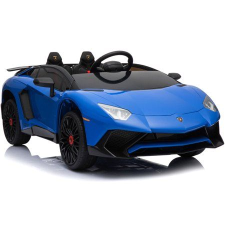 Mini Moto Lamborghini 12v Blue Includes Rc Control Kids Electric Ride On Car And Remote Control Blue Walmart Com Sports Car Lamborghini Car