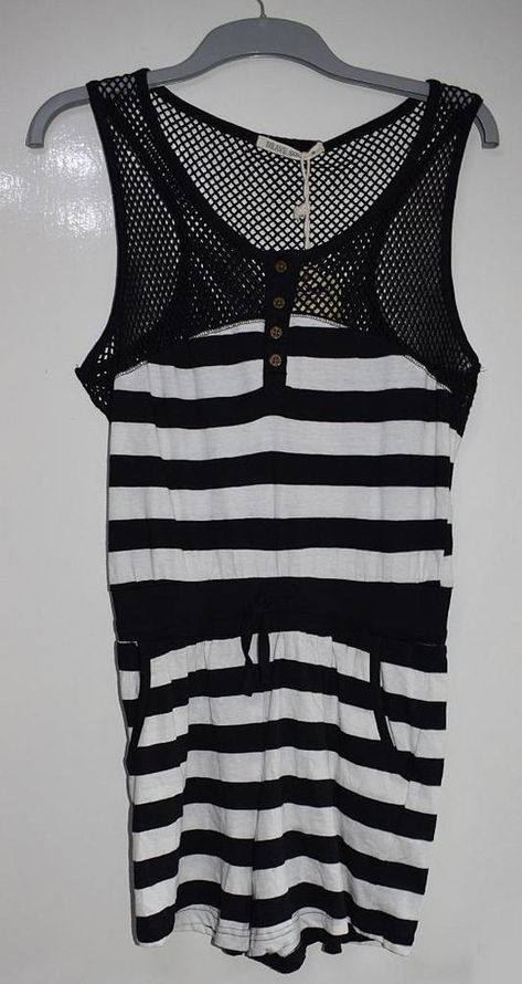 1566acb4005 BNWT BRAVE SOUL Womens Loose Upper Knit Striped COTTON Playsuit Size M  -10 12